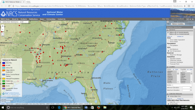 Map from the NRCS showing soil temperature.